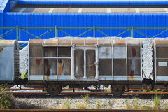 Railroads container truck parking in heavy indsutry estate use f Royalty Free Stock Image