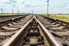 Railroads crossing closeup Royalty Free Stock Images