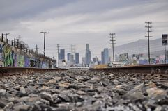 Railroads always lead to the city. Adventures through LosAngeles california Stock Photo