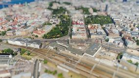Tiltshift Miniature Central Train Station Old Riga city timelapse Road cars Traffic Bridge drone Timelapse in motion stock footage