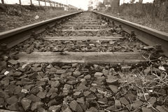 Rails 02. Industrial used rails - black and white - landscape format Royalty Free Stock Photography