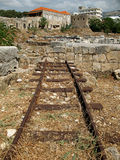 Rails. An abandoned railroad in the Lebanese city of Byblos Stock Photo