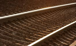Rails. Railway track glowing in the sunset Stock Photo