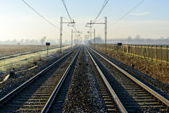 Rails in autumn, Lomellina (North Italy) Stock Photo