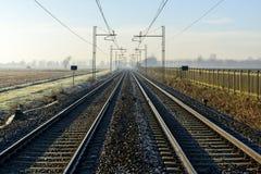 Rails in autumn, Lomellina (North Italy) Stock Photo