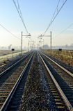 Rails in autumn, Lomellina (North Italy) Stock Photography