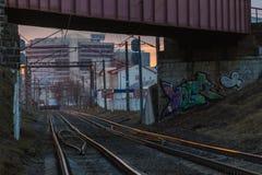 Rails avec un foyer sélectif Photographie stock