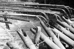 Rails of bamboo fountain Zen garden decoration Stock Image