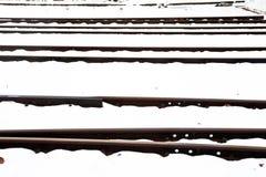 Rails bloqués par la neige en hiver Photos libres de droits