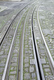 Rails on city. Tram rails urban city vehicle and transport Stock Photos
