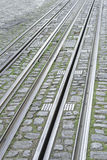 Rails on city. Tram rails urban city vehicle and transport Royalty Free Stock Photos
