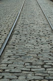 Rails & cobblestones Stock Image