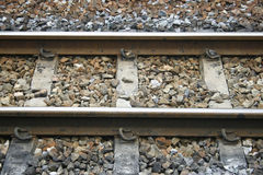 Rails with concrete sleepers Stock Images