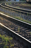Rails on concrete sleepers (three curved train lines) in the evening sunshine Stock Images