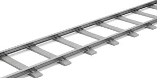 Rails with concrete sleepers  on white Stock Photos