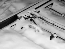 The rails are covered with snow in a blizzard on the turnouts in the creation of an emergency Stock Images