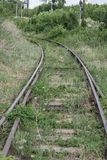 Rails and cross ties.Railway road,concept, close-up stock photo