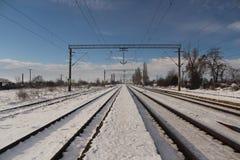 Rails d'hiver Image stock