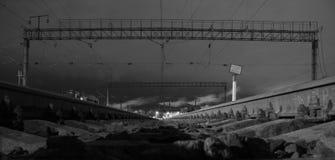 Rails in the dark Stock Photo