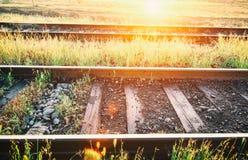 Rails. Dawn on the railroad. Rails Royalty Free Stock Photo