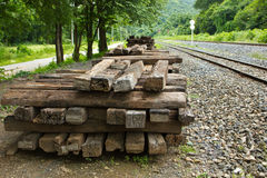 Rails de bois de construction Photographie stock libre de droits