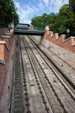 Rails de la colline de château de Budapest funiculaire Image libre de droits