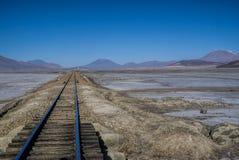 Rails in desert Stock Photos