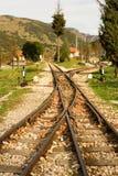 Rails of famous Diakofto-Kalavrita railway. A historic 750 mm gauge rack railway. Photo taken near the terminus station in Kalavrita at Peloponnese, Greece Royalty Free Stock Image