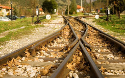 Rails of famous Diakofto-Kalavrita railway Royalty Free Stock Photography