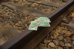 Rails financiers d'argent, transfert de fil image stock