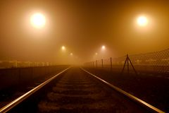 Rails in the fog Royalty Free Stock Photos