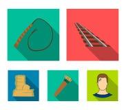 Rails, fouet, tremblement avec des flèches, roche Les icônes réglées de collection d'ouest sauvage dans le style plat dirigent le Images libres de droits