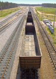 Rails And  freight car Royalty Free Stock Photos