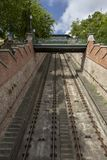 Rail of funicular on Castle Hill in Budapest Hungary. Rails of the funicular climbing Castle Hill in Buda district of Budapest, Hungary stock photos