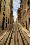 Rails of the funicular in Lisbon Royalty Free Stock Photography