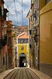 Rails of the funicular in Lisbon Stock Photos