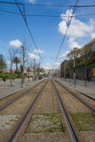 Rails of the funicular in Lisbon Stock Photography