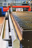 Rails of gas and plasma torches cutting machine. Rails of CNC oxy-fuel and plasma torches cutting machine in mechanical shop Royalty Free Stock Photography