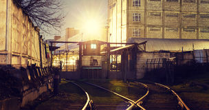 Rails and gates guarded the warehouse Royalty Free Stock Photos