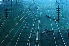 Rails green rust railroad tracks Stock Photos