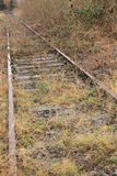 Rails. A inoperative railway track with grass on the broken stones Royalty Free Stock Photography