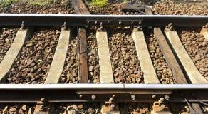rails järnväg sleepers Arkivfoto