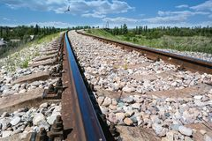 Rails leading to the horizon Royalty Free Stock Images