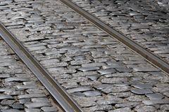Rails. In Lisbon Street, Portugal Stock Photos