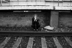 Rails and loneliness stock photography