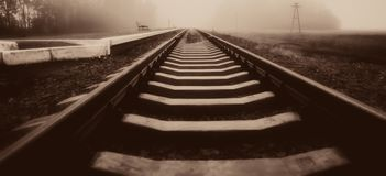 Free Rails Of The Railway Station At The Station. . Panoramic And Web Stock Photos - 112345523