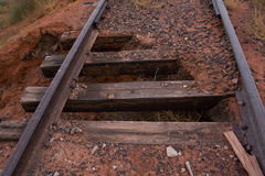 Rails. Old abandoned railway. Abandoned railroad in the prairie. Utah, USA Royalty Free Stock Photography