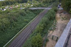 Rails with a plants royalty free stock photography