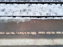 The rails and the platform. Winter stock images