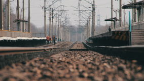 Rails for Rail Road Trains and Mirage. Rails and railway on which the moving trains. Rails and railroad on which the moving trains. Workers in the railway stock video footage